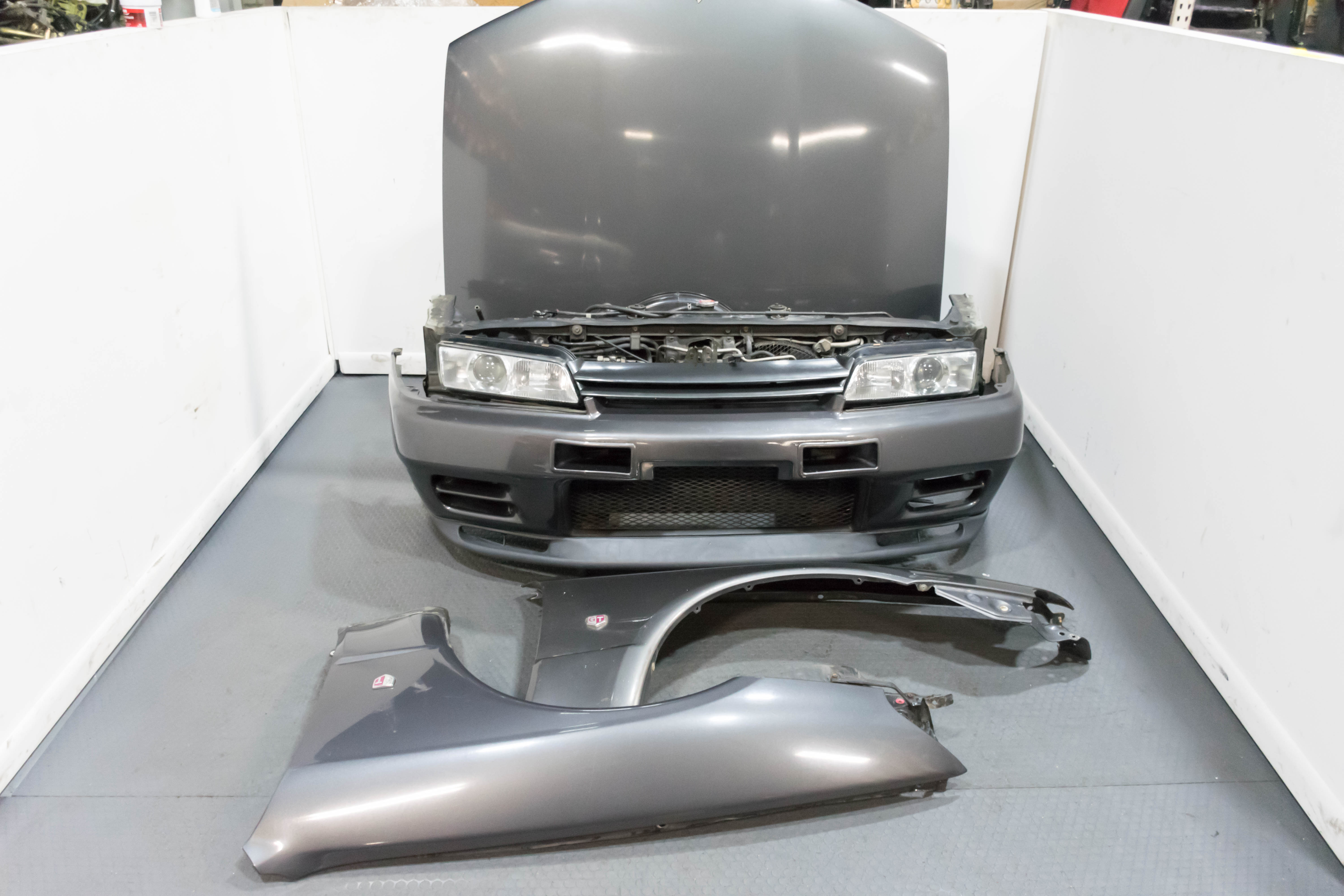 JDM R32 Nissan Skyline GTR Complete Front Clip with Nismo N1 Style Front  Bumper Fenders Hood Headlights