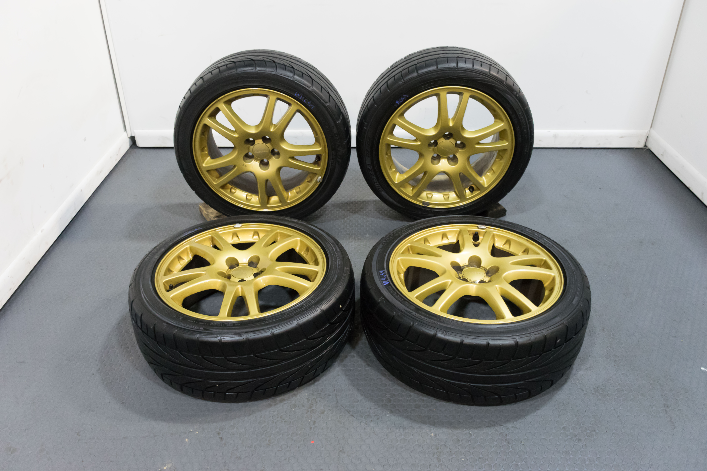 Enkei Version 7 OEM Subaru STi Wheels Gold 5x100 for 2002 ...